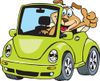 Clipart Illustration of a Dog Driving A Green Slug Bug Convertible And Giving The Thumbs Up