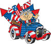 American Uncle Sam Driving A Ute With Rockets In The Back