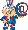 American Uncle Sam Holding An Arobase At Email Symbol