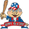 American Uncle Sam Holding A Wooden Baseball Bat