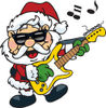 Royalty-Free (RF) Clipart Illustration of Santa Claus Wearing Shades, Rocking Out And Playing A Guitar