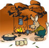 Bilby Camping And Cooking Over A Fire In The Outback