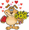 Sparkey Dog Holding Flowers And Chocolates, With Hearts