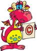 Pink Stern Dragon Holding A Copyright Symbol