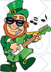 Clipart St Patricks Day Leprechaun Playing Rock And Roll St Patrock - Royalty Free Vector Illustration
