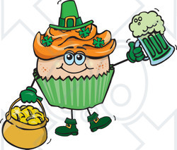 Clipart of a Leprechaun St Patricks Day Holiday Cupcake Holding a Beer and Gold - Royalty Free Vector Illustration
