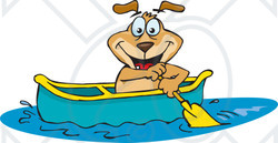 Clipart of a Sparkey Dog Paddling a Canoe - Royalty Free Vector Illustration