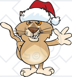 Clipart of a Cartoon Happy Puma Wearing a Christmas Sant Hat and Waving - Royalty Free Vector Illustration