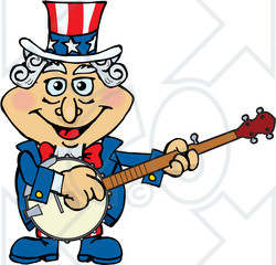Clipart of an Uncle Sam Character Playing a Banjo - Royalty Free Vector Illustration