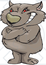 Royalty-Free (RF) Clipart Illustration of a Grinning, Red Eyed Wombat Standing Upright With His Arms Crossed