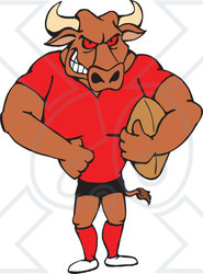 Clipart Illustration of a Beefy Bull In Uniform, Holding An American Football