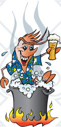 Clipart Illustration of a Happy Shrimp Toasting With Beer While Boiling Over A Fire In A Pot