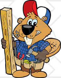 Clipart Illustration of a Carpenter Beaver Building With Wood, Biting Nails In His Mouth