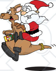 Clipart Illustration of Santa Riding On A Kangaroo, With Christmas Presents In The Pouch