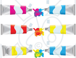 Clipart Ilration Of Pink Blue Red And Yellow Paint S Mixing Colors To Make