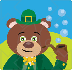 Clipart Illustration of a Teddy Bear Leprechaun Character Smoking A Pipe