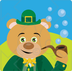 Clipart Illustration of a Brown Bear Leprechaun Character Smoking A Pipe