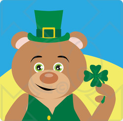 Clipart Illustration of a Leprechaun Bear Character Holding A Clover
