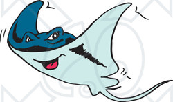 Clipart Illustration of a Happy Blue Stingray