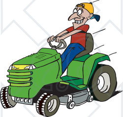 Clipart Illustration of a Man Driving A Fast Green Riding Lawn Mower