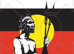 Clipart Illustration Of A Tribal Man Standing In Front Of An