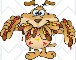 Royalty-Free (RF) Clipart Illustration of a Sparkey Dog Shoving Weenies In His Mouth At A Hot Dog Eating Contest
