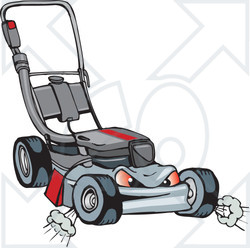 Royalty-Free (RF) Clipart Illustration of a Mean And Tough Lawn Mower Character
