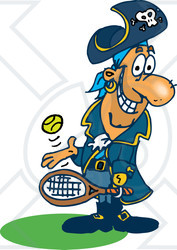 Royalty-Free (RF) Clipart Illustration of a Pirate Guy Playing Tennis - Version 3