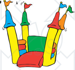 Royalty-Free (RF) Clipart Illustration of an Open Colorful Bounce Castle