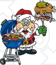 Royalty-Free (RF) Clipart Illustration of a Grilling Santa Wearing A Santa Hat And Holding Food On A BBQ Fork