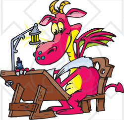 Royalty-Free (RF) Clipart Illustration of a Pink Designer Dragon Drawing At A Table